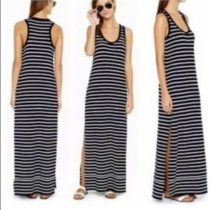 J. CREW Black & White Stripe Long Tank Maxi Dress